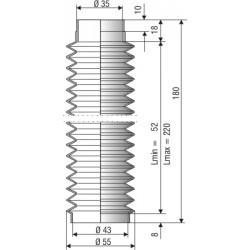 1020 NBR Soufflet D 35mm et 43mm Long 52 à 220mm