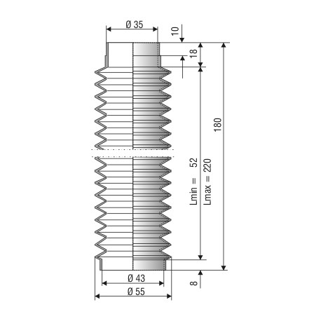 Soufflet D 35mm et D 43mm NBR L min 52mm L.max 220 réf 1020 NBR