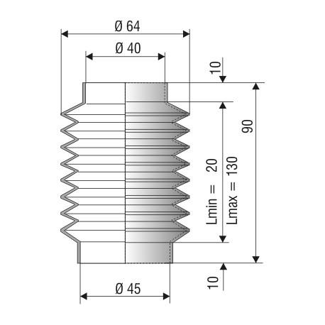 1064 NBR Soufflet NBR D40 et D45 Lmin 20mm L max 130mm