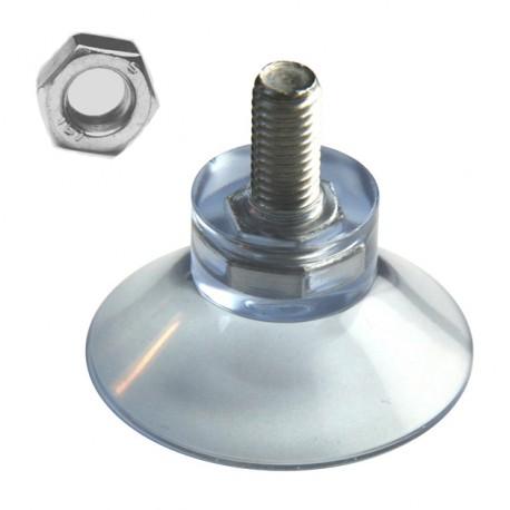 Ventouse 45mm avec tige inox M8 x16mm avec écrou M8 hexagonal en acier
