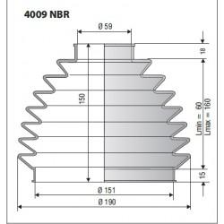 Soufflet D 59mm et D 161mm Lmin 60 Lmax 160 Ref 4009 NBR