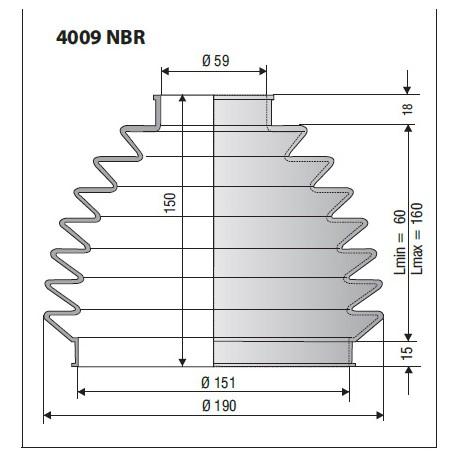 Soufflet D 59mm et D 151mm Lmin 60 Lmax 160 Ref 4009 NBR