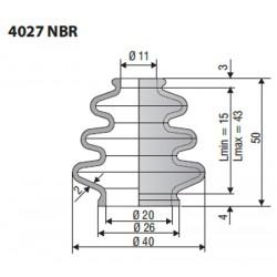 Soufflet D 11mm et D 20mm Lmin 15mm Lmax 43mm Réf 4027 NBR