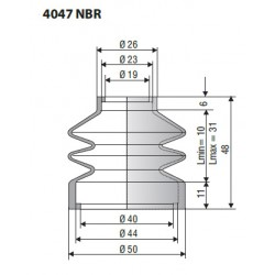 Soufflet D 19mm et D 40mm Lmin 10mm Lmax 31mm Réf 4047 NBR