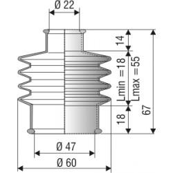 1029 NBR Soufflet D 22mm et 47mm Long 18 à 56 mm