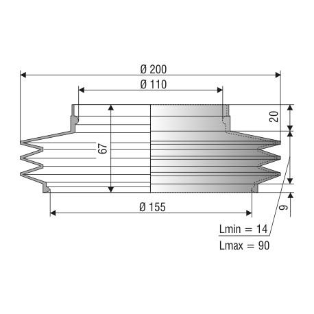 Soufflet 110mm et 155mm 1085 NBR