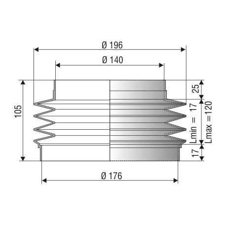 1110 NBR Soufflet D 140mm et 176mm Long 17 à 120 mm