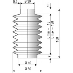 Soufflet D 30mm et D 40mm Lmin 18mm Lmax 130mm Réf 2050 NBR