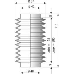 Souffllet D 40 L. min 28mm L. max 205mm Réf 1040 NBR