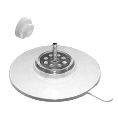 ventouse 75 mm tige m4 long 14 mm+ecrou molete blanc