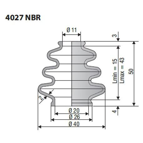 Soufflet en NBR ouvertures 11mm et 20mm