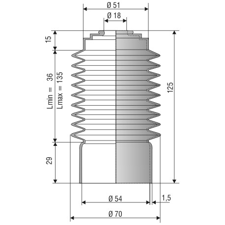Soufflet ouvertures 18mm et 54mm ref 1038 NBR