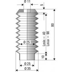 Soufflet en NBR ouvertures 11mm et 25mm