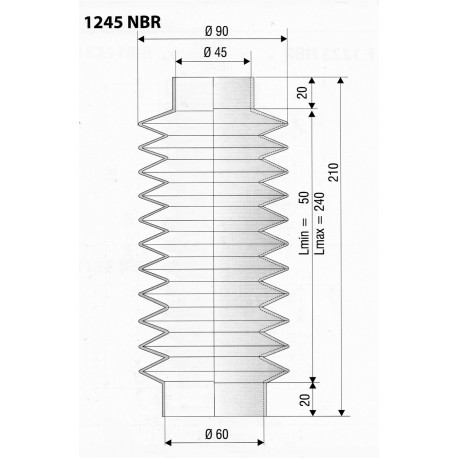 Soufflet en NBR ouvertures de 40mm et 60mm