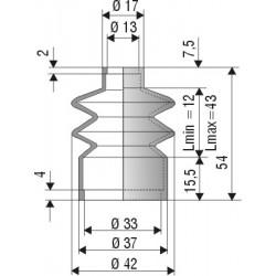 Soufflet en NBR ouvertures 13mm et 33mm