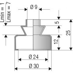 1032 NBR Soufflet D 9mm et 24mm Long 1mm à 7 mm