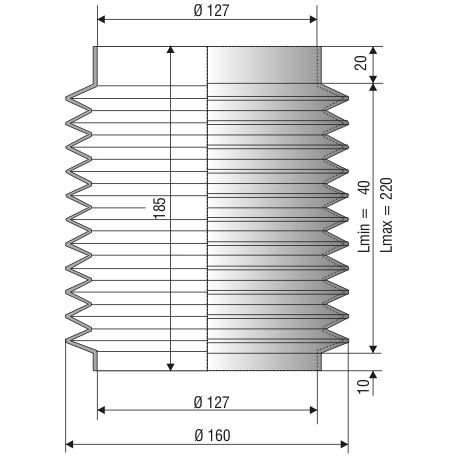 1204 NBR Soufflet D 127mm Long 40 à 220 mm