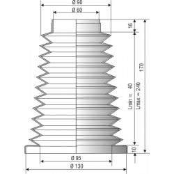 1147 NBR Soufflet D 60mm et 130mm Long 40 à 240 mm