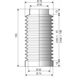 1208 SILICONE noir Soufflet D 50mm et 74mm Long 45 à 180mm