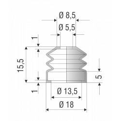 2133 CR Soufflet D 5,5mm et D 13,5mm Long 15,5mm