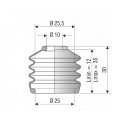 9011 NBR Soufflet D10 mm et D 25mm NBR Lmin 12 Lmax 35