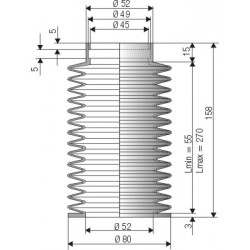 1523 NBR Soufflet D 45 mm et 52 mm Long 70 à 285 mm