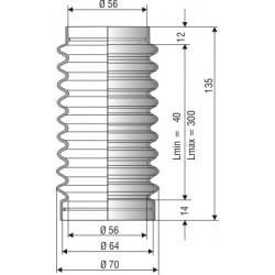 1182 NBR Soufflet D 56mm Long 45 à 145 mm