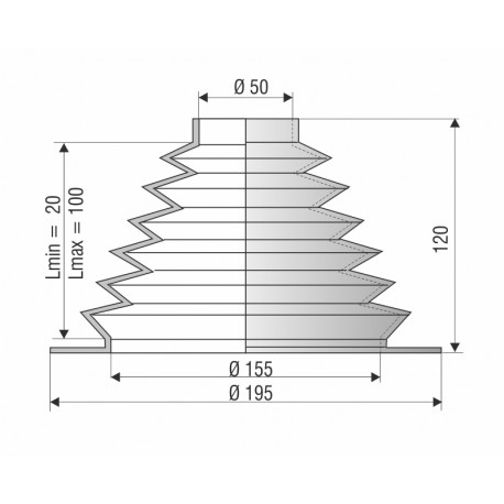9010 NBR Soufflet D 50mm et 155mm Long 20 à 100mm