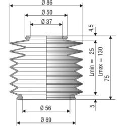 Soufflet de protection diamètre 37 et 56 mm longueur 75 mm