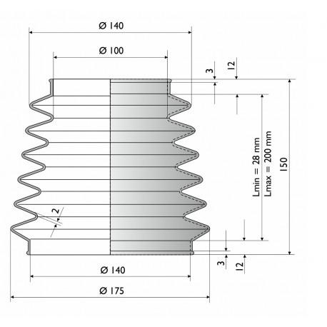 9000 NBR Soufflet de protection conique D 100 mm et 140 mm