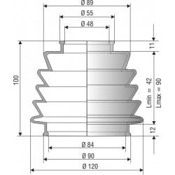 Soufflet de protection conique connexions 48 et 84 mm