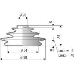 Soufflet de protection conique connexions 20 et 64 mm