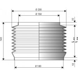Soufflet de protection cylindrique connexions 150 et 180 mm