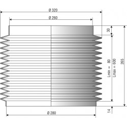 Soufflet de protection diamètre 260 et 280 mm longueur 265 mm