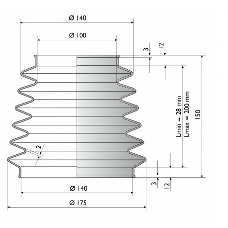 9000 SI Soufflet de protection conique D 100 mm et 140 mm
