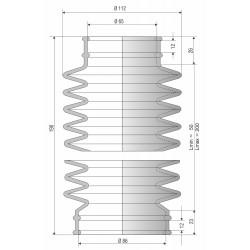 4064 NBR Soufflet épais diam 112 mm Long 50 à 200 mm