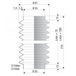 1248 NBR Soufflet D 55 mm Long 70 à 280 mm