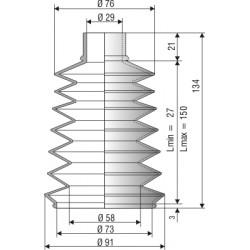 1062 NBR Soufflet D 29mm et 73mm Long 27 à 150 mm