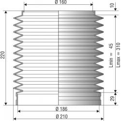 1066 NBR Soufflet D 160mm et 186mm Long 45 à 310 mm
