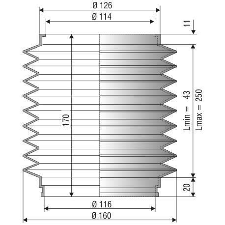 1068 NBR Soufflet D 114mm ET 116mm Long 43 à 250 mm