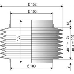 1074 NBR Soufflet de protection D 100 mm