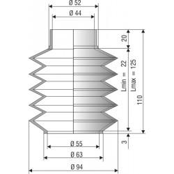 1078 NBR Soufflet D 44mm et 55mm Long 22 mm à 125 mm