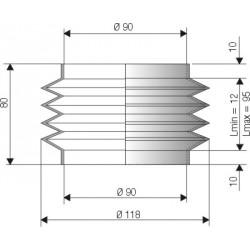 1090 NBR Soufflet D 90mm Long 12 à 95mm