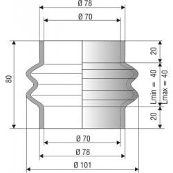 1091 NBR Soufflet D 70mm Long 40mm