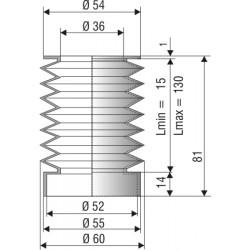 1093 NBR Soufflet D 36mm et 52mm Long 15 à 130mm