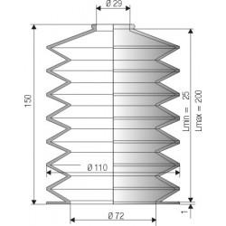 1095 NBR Soufflet D 29mm et 72mm Long 25 à 200 mm