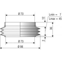 1096 NBR Soufflet D 73mm Long 7 et 45 mm