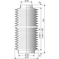 1105 CR Soufflet D 40mm et 55mm Long 70à 440mm