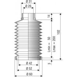 1107 NBR Soufflet D 26 et 52 mm Long 50 à 200 mm