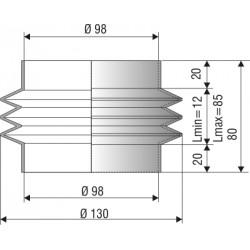 1113 NBR Soufflet D 98mm Long 12 à 185 mm